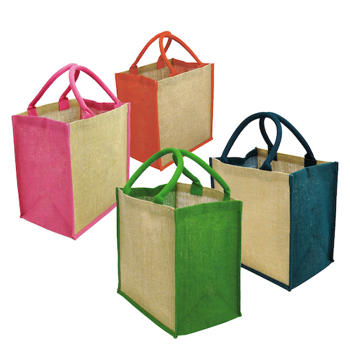 Jute Bags Chort Cotton Web Handle With Gusset Pre Printed
