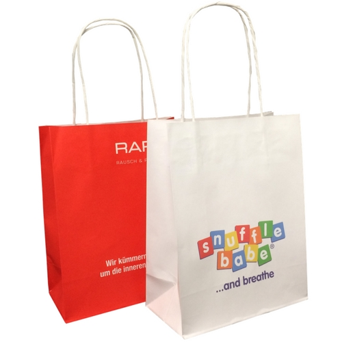 New Smaller Size High Quality Litho Printed Twist Handle Paper Bags