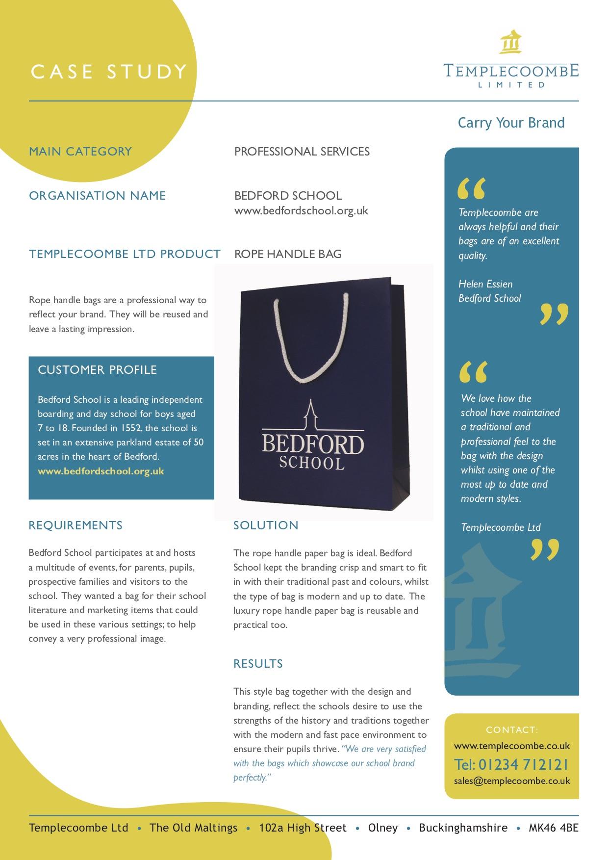 Bedford School - Rope Handle Paper Bag Printed Carrier Bags