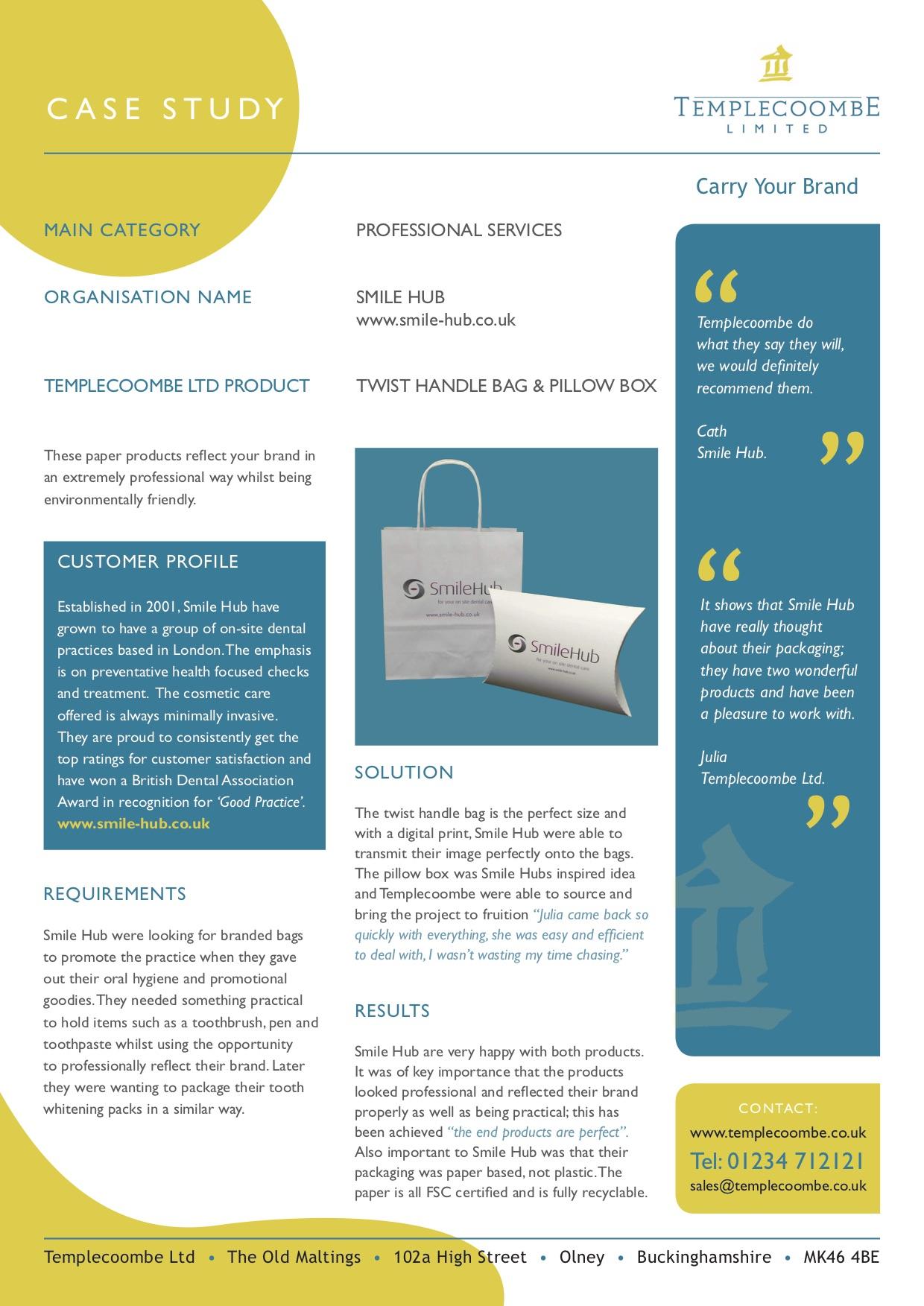 Smile Hub Dental - Paper Bag & Pillow Box Printed Carrier Bags