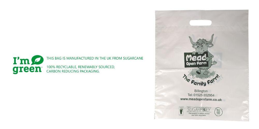 Green PE (sugar cane) Printed Carrier Bags