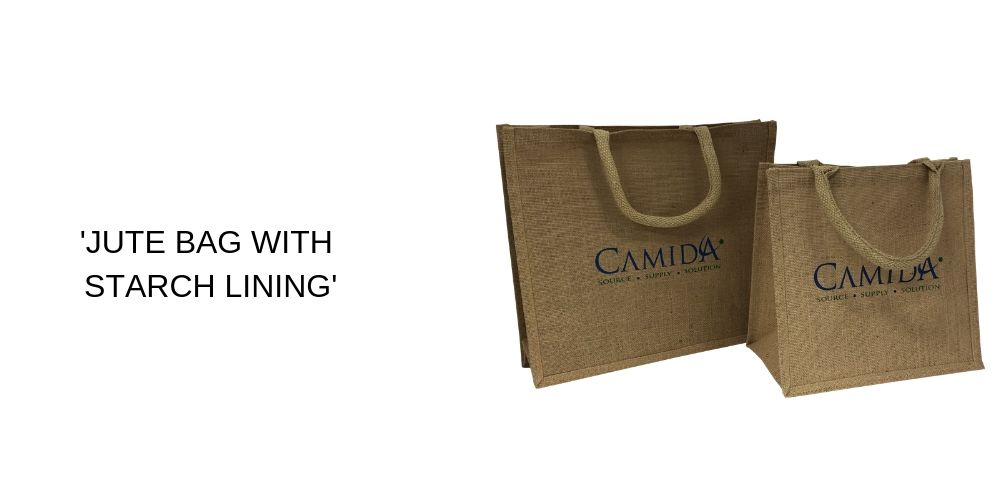 Jute bag with Starch Lining Printed Carrier Bags