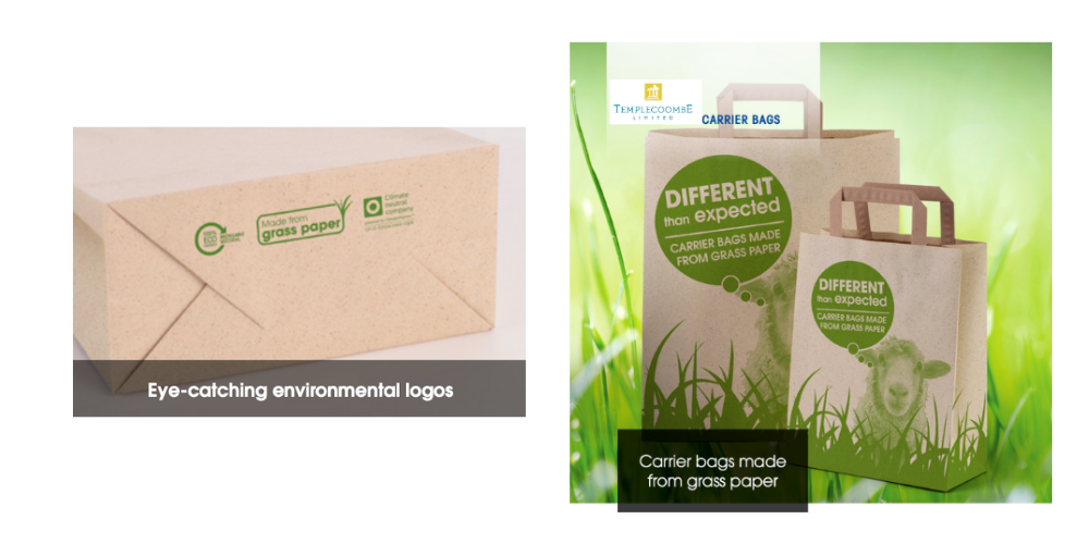 Grass Paper Printed Carrier Bags